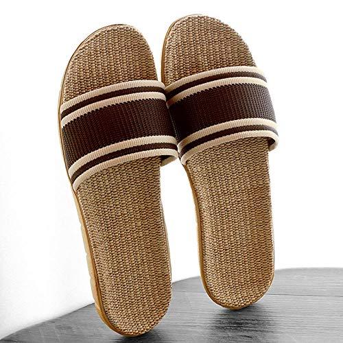 HUSHUI Chanclas Zapatos de Playa y Piscina,Sandalias de casa Antideslizantes, Zapatillas de Interior de Lino de Suela Gruesa-Marrón_44-45,Mujer Verano Baño Antideslizante Chanclas