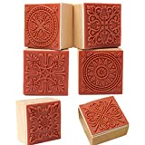 Vektenxi Durable 6 Verschiedene hölzerne Stempel Gummidichtung Quadrat Handschrift DIY Handwerk...