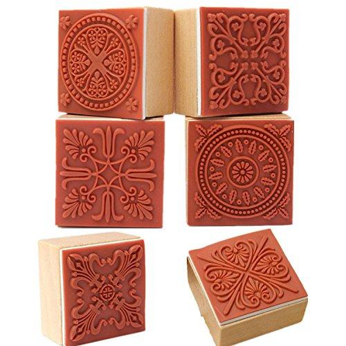 Vektenxi Durable 6 Verschiedene hölzerne Stempel Gummidichtung Quadrat Handschrift DIY Handwerk Blume Spitze