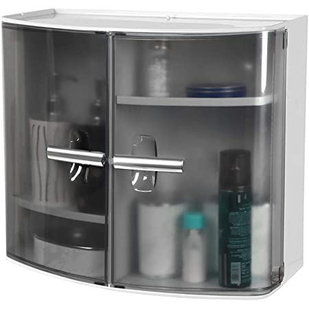 MUCH-MORE™ New Look Multipurpose Plastic Bathroom Cabinet (Grey BA-50)