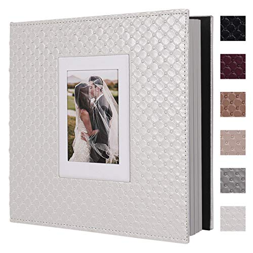 RECUTMS 60 Pages DIY Scrap Book Photo Album 4x6 5x7 8x10 Pictures PU Leather Cover Wedding Photo Album Baby Picture Book Family Pictures of Any Size Scrapbook Album(White)