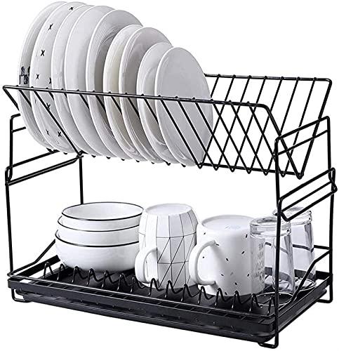 Afvoerrek, afvoermand voor serviesgoed, aanrechtblad in de keuken, dubbellaags ontwerp, geschikt voor aanrecht in de keuken (zwart + wit) (kleur: zwart)