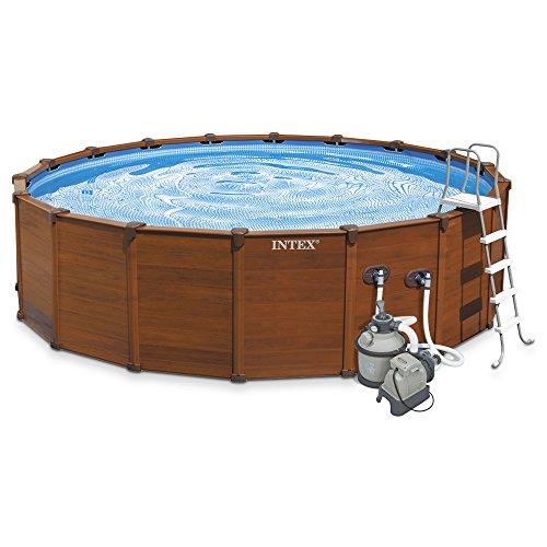 Intex 28382 - piscina desmontable tubular sequoia panel madera 478x124cm con depuradora de arena y complementos