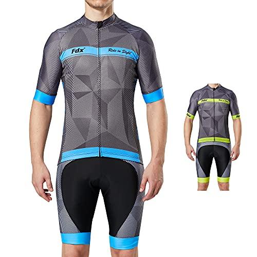 FDX Mens Classic Cycling Jersey Race fit Gel Padded Bib Shorts Cycling...