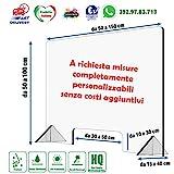 Shape Acrilic Design Parafiato in Plexiglass Trasparente da banco Autoportante Barriera Divisoria di Protezione con Apertura passasoldi Varie Misure (60xH75cm)