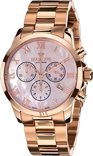 LOUIS XVI Damen-Armbanduhr Athos Pour Femme Stahlband Rosegold Perlmutt Chronograph Analog Quarz Edelstahl 546