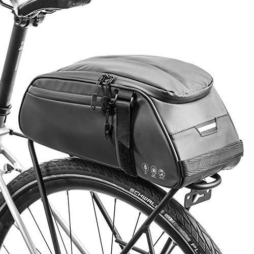 BAIGIO Borsa Bici Posteriore Cremagliera Multifunzionale Pacchetto Zaino Borsa da Bicicletta MTB Borsa Portapacchi Bici con Tracolla & Striscia Riflettente,8L (Nero)