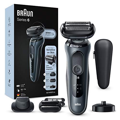 Braun Series 6 60-N4820cs Afeitadora Eléctrica, máquina de afeitar barba hombre de lámina, Con Base De Carga, 2 Accesorios, EasyClick, Uso En Seco Y Mojado, Recargable, Inalámbrica, Gris