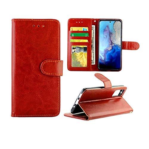 PROTECTIVECOVER+ / Galaxy S20 Crazy Horse Texture Cuero Horizontal Flip Funda protectora con soporte y ranuras tarjetas y marco de la billetera , Fashion Phone Funda Para Protector ( Color : Brown )
