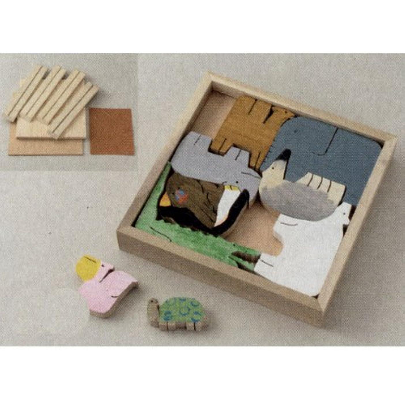 カードテンポレポートを書く額付木彫パズル 桂材 B08-9193