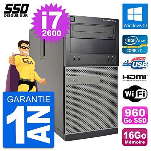 Dell PC Tour Optiplex 390 MT i7-2600 RAM 16Go SSD 960Go HDMI Windows 10 Wifi (Reconditioned)