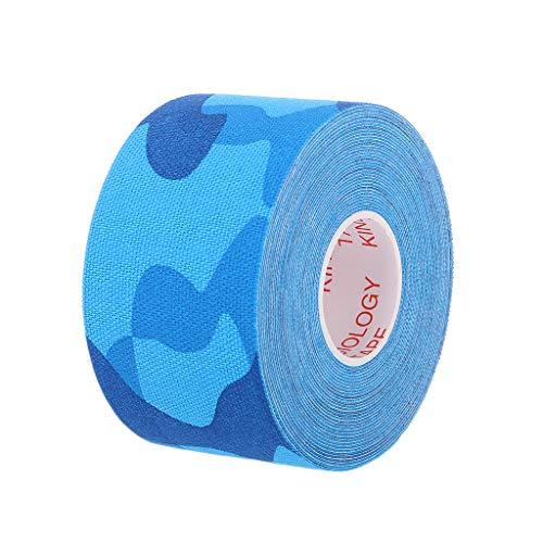 JERKKY 3.8 cm * 5 m Cinta kinesiológica Deporte atlético Lesión Muscular Tensión Vendaje elástico Camuflaje Azul