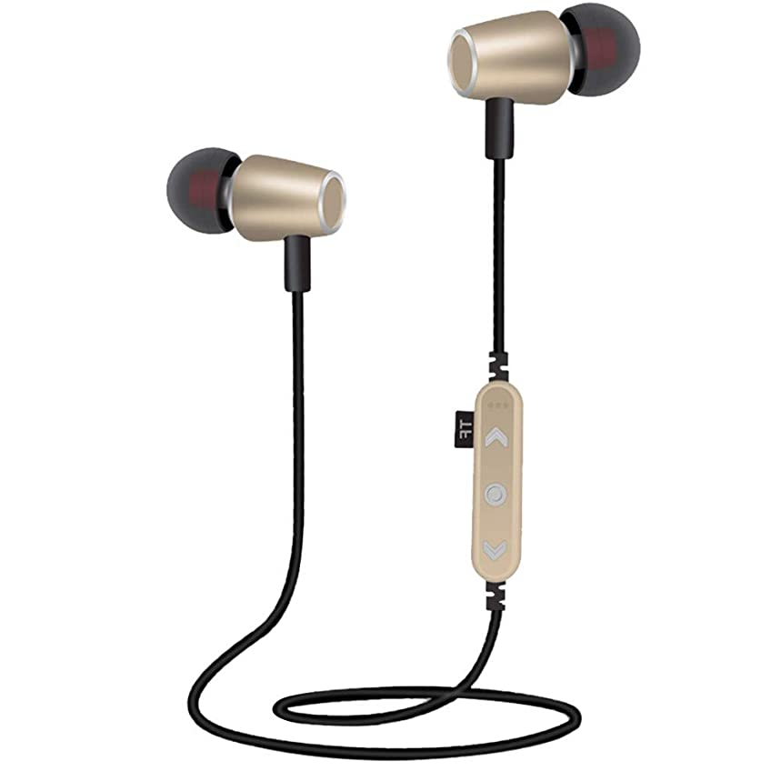 Stheanoo Wireless BT4.2 Stereo Earphones Sport Headphone Support SD Card Noise Cancelling Headsets for Gym Running Workout with Microphone (Gold)