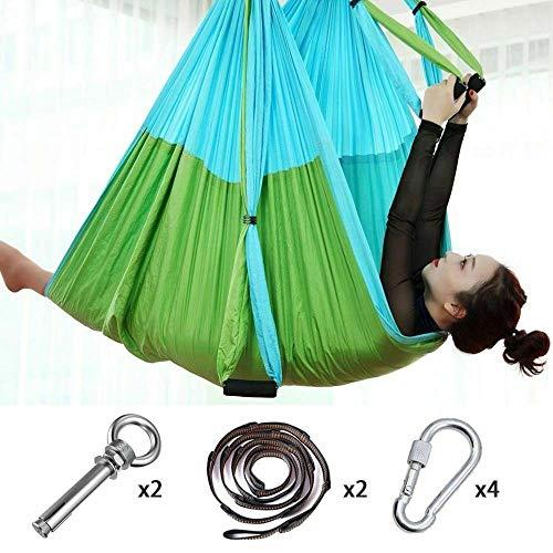 Review Isaa Miilne Full Set 6 Handles Anti-Gravity Aerial Yoga Ceiling Hammock Flying Swing Trapeze,...