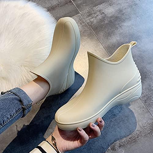 Botas De Agua Mujer - Mujeres Botas De Tobillo De Lluvia De Goma Impermeable Zapatos Mujer Señoras Invierno Zapatos De Agua Femeninos Botas Cortas Para El Jardín, Calzado Al Aire Libre, Beige,37