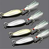 VFDGB Bait Metal 3.4 Cm 3G/5G Gold Sliver Sequins with Feather Fishing Lures Spoon Lure Hard Baits Bass Pike Fishing Tackle