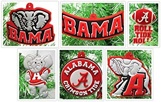 Alabama Crimson Tide Holiday Christmas Tree Ornament Set Featuring Various Roll Tide Roll Ornaments