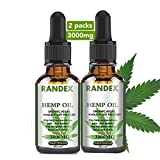 Randex Hemp Oil 3000mg of Organic Hemp Extract,Made in USA,High in Omega 3-6-9, Food Grade -Helps with Sleep, Skin Hair- 2 Packs