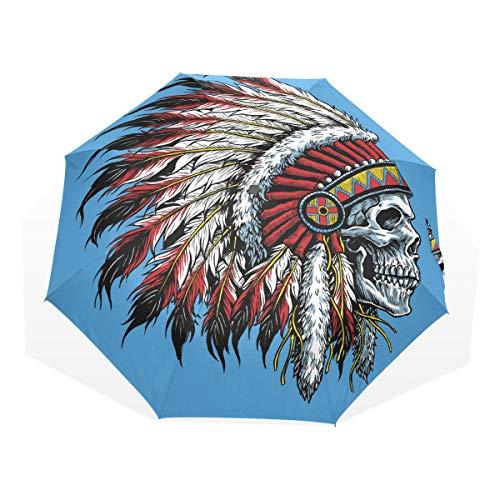 Paraguas 3 Pliegues Personalizar Indian Skull Feather Anti-UV a Prueba de Viento Ligero