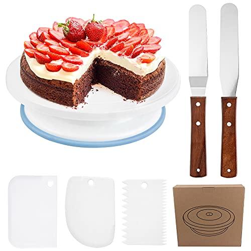 XiYee Torta Girevole, Supporto Rotante per Torte con 2 Coltelli da Tavolo Angolati, 3 Raschietti per la Crema per Fare Torte, Torta Decorazione