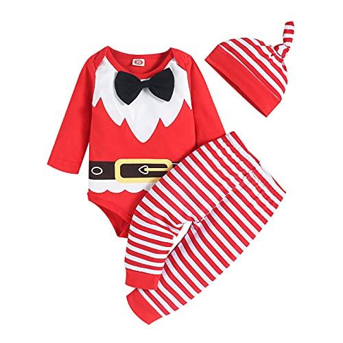 TT- Kleinkind Baby Mädchen Herbst Winter Kleidung,3PCS Weihnachten Langarmshirts T-Shirt Sweatshirt Pullover Tops + Xmas Hosen Sporthosen Trainingsanzug Outfits Sweatsuit Sets +Hut (Rot, 6-9 Months)