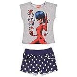 Nada Home - Camiseta con pantalón corto Miraculous Ladybug - Camiseta de algodón - Vestido estampado 2893 gris 4 Años