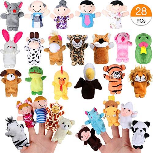 Joinfun 28 Stück Fingerpuppen Party Mitgebsel Cartoon Tier Hand Spielzeug Menschen Familienmitglieder für Kindergeburstag Gastgeschenk und Finger Plüschtier Stuffer für Ostereier Mitgebsel Weihnachten