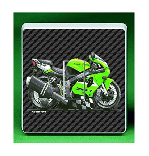 Koolart Ninja ZX7R Superbike Motorrad UK Lichtschalter-Aufkleber Aufkleber für Kinder- und Kinderzimmer, 84 x 84 mm