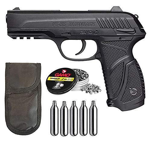 Tiendas LGP - Gamo - Pack Pistola Gamo PT-85 Blowback - Arma de Aire comprimido Potencia de 3,5 Julios, 4,5 mm, Velocidad de Salida 138 m/s. + 5 Bombonas CO2 + Funda Portabombonas + 250 Balines