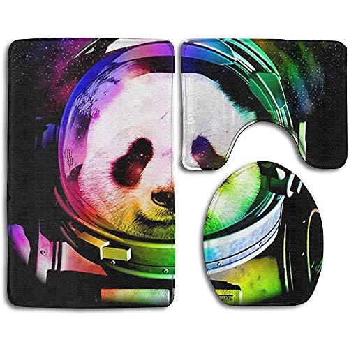 JHDF Badteppich-Sets 3-teilig Cosmos Astronaut Animal Badteppich-Sets Waschbare U-Form-Teppichmatte und Deckelbezug