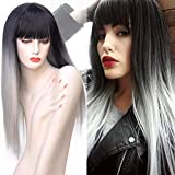 BEkjdiof Wigs With Bangs for Women Synthetic Wigs Long Straight Ombre Black Grey Natural Looking Cosplay Wigs(1b grey)