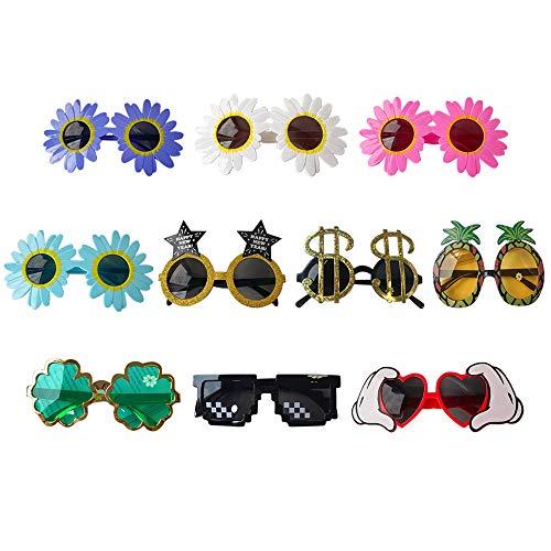 Gobesty Neuheit Party Sonnenbrille, 10 Paar Tropische Party Neuheit Sonnenbrille Neuheit Party Lustige Brille für Kinder Erwachsene Hawaii Luau Beach Party Kostüm Dekoration