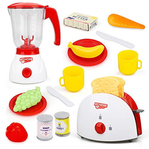 TOY Life Toy Blender and Toy Toaster with Pretend Play Kitchen Accessories for Toddlers Set | Cooking Toy Kitchen Appliances Set Includes Bonus Plates Utensils and Play Food for Kids Missouri