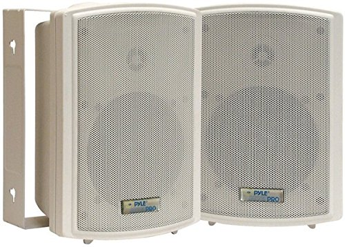 Dual Waterproof Outdoor Speaker System - 5.25 Inch Pair of White Weatherproof Wall/Ceiling Mounted Speakers w/Heavy Duty Grill, Universal Mount - for Use in The Pool, Patio, Indoor - Pyle PDWR5T