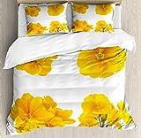 Juego de fundas nórdicas de flores amarillas, patrón de jardinería con pequeñas flores de prímula de primavera tierna, juego de cama decorativo de 3 piezas con 2 fundas de almohada, blanco mostaza