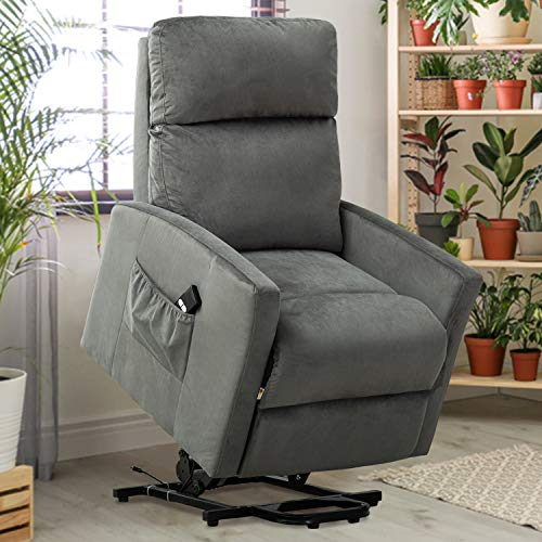 GOOD & GRACIOUS Power Lift Chair Electric Recliner Sofa for Elderly Heavy Duty and Soft Fabric Sleep Lift Chair with Remote Control for Living Room 3 Positions 2 Side Pockets 2 Grid Slate Grey