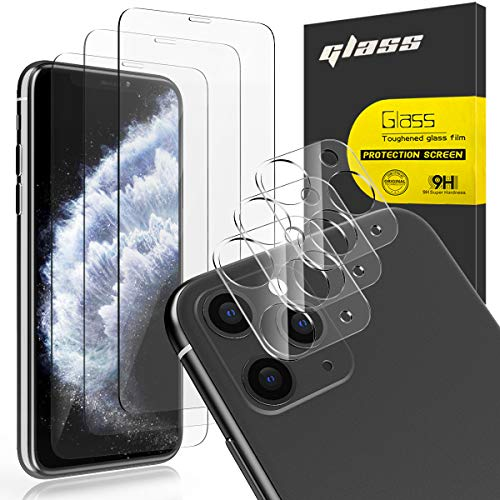 """[6 Pack] AUDON 3 Pack Screen Protector Tempered Glass for iPhone 11 Pro Max+3 Pack Camera Lens Protector Tempered Glass for iPhone 11 Pro Max (6.5""""), 3D Edge Anti Scratch Bubble Free HD Clear (Clear)"""