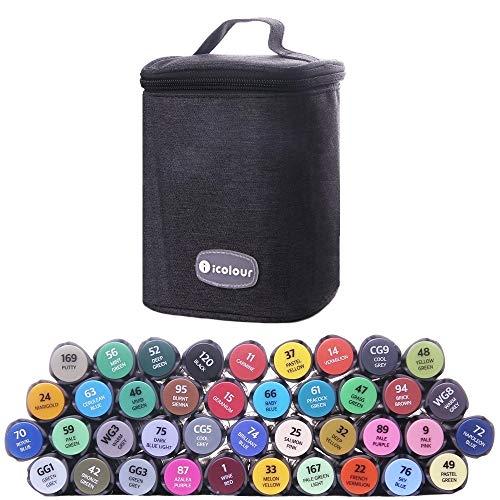 Graphic Marker Pen, Funnasting Permanent Marker Pens 40 Farben Alkohol Marker Dual Tip Art Marker Set für Architektur Design, Zeichnen, Ausmalen, Hervorheben und Unterstreichen