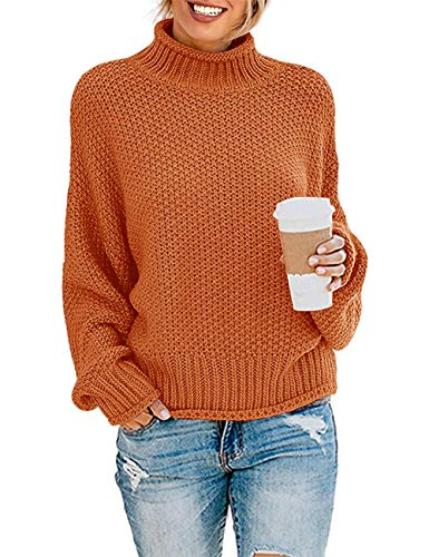 ZESICA Women's Turtleneck Batwing Sleeve Loose Oversized Chunky Knitted Pullover Sweater Jumper Tops,Orange2,Large