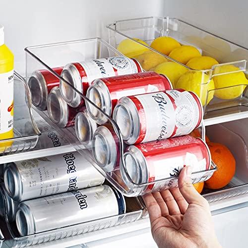 Upmoten Caja de almacenamiento con asas, organizador de cocina de plástico extra grande para nevera y despensa, contenedor de almacenamiento para alimentos, bebidas y condimentos(grande)