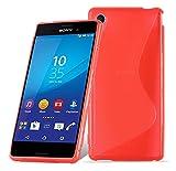 Cadorabo Funda para Sony Xperia M4 Aqua en Rojo Infierno - Cubierta Proteccíon de Silicona TPU Delgada e Flexible con Antichoque - Gel Case Cover Carcasa Ligera