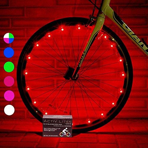 Activ Life Luci a LED per Ruote di Biciclette (Conf. da 1 per Copertone, Rosso) Idea Regalo per Natale - Vendita Speciale per Black Friday e Cyber Monday – Lui, Lei, Bambini e Teenager