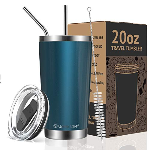Umite Chef 20oz Tumbler Double Wall Stainless Steel Vacuum Insulated Travel Mug with Lid, Insulated Coffee Cup, 2 Straws, for Home, Outdoor, Office, School, Ice Drink, Hot Beverage ?20 oz, Blue Green)
