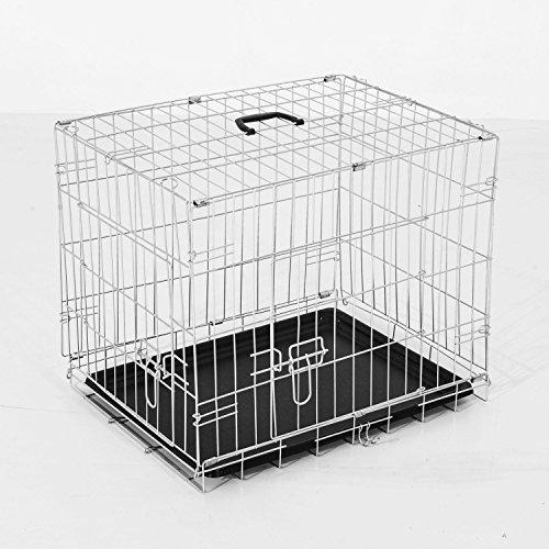 PawHut Gabbia per Cani Cuccioli Pieghevole in Metallo Doppia Portiera 91 × 61 × 67cm Argento