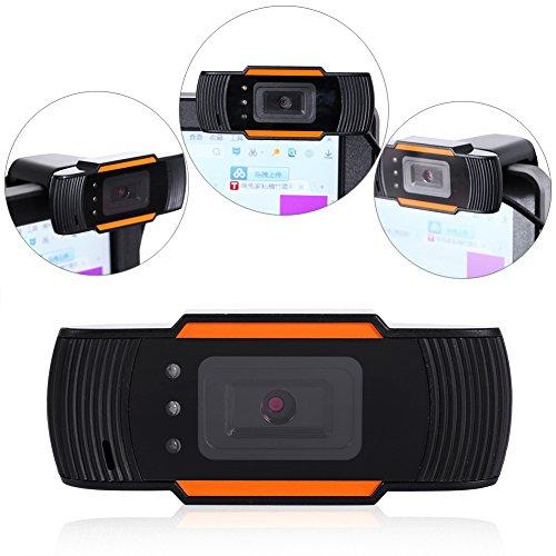 Richer-R HD Webcam, 12.0M HD USB PC Webcam 3 LED Nachtsicht Web Cam,USB 2.0 Webkamera Web Camera mit Eingebautes Mikrofon für Video-Meeting MSN/Yahoo/Skype usw.