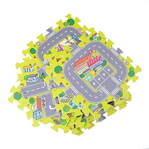 aolongwl Cuidado del bebé Estera de juego 9 unids/set City Road Alfombras Alfombras Niños Alfombra Juguetes Bebé