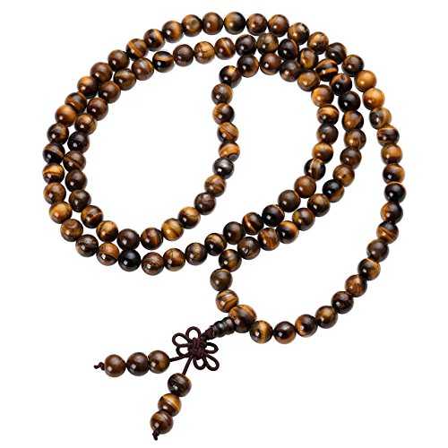 JOVIVI Tibetan 8mm 108 Natural Tiger Eye Gemstone Beads Prayer Mala Bracelet Necklace