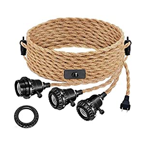 Vintage Triple Light Sockets Pendant Hanging Light Cord Kit with On/Off, DORESshop 22FT Plug-in Light Fixture E26 Lamp Extension Hanging Lantern Cable for Retro DIY Decoration