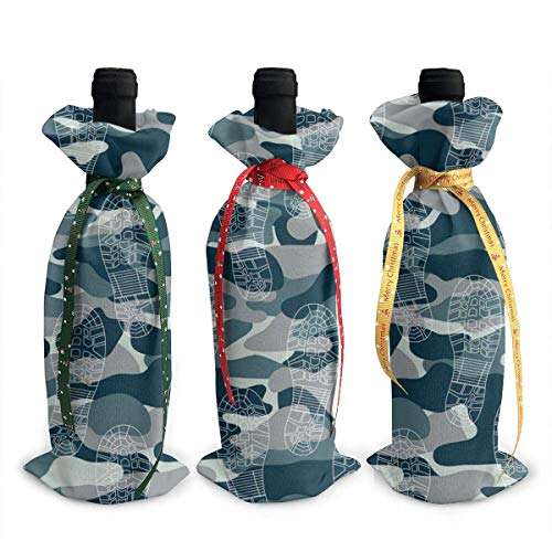 Traces of Military Boots 3Pcs Wine Bottle Cover Decoration Cover Bags for Christmas,Wedding,Holiday