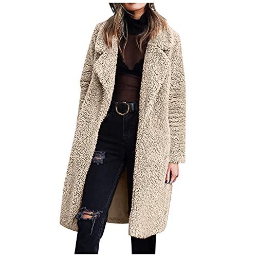 Women's Fuzzy Fleece Lapel Open Front Long Cardigan Coat Faux Fur Warm Winter Outwear Jackets Comfort Overcoat Jacket